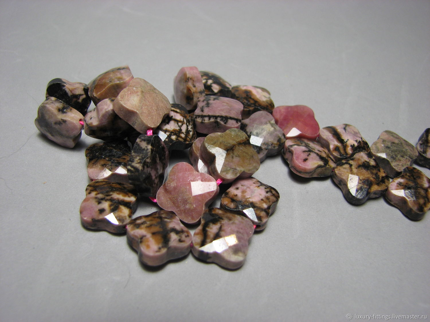 Rhodonite bead faceted cross, Beads1, Moscow,  Фото №1