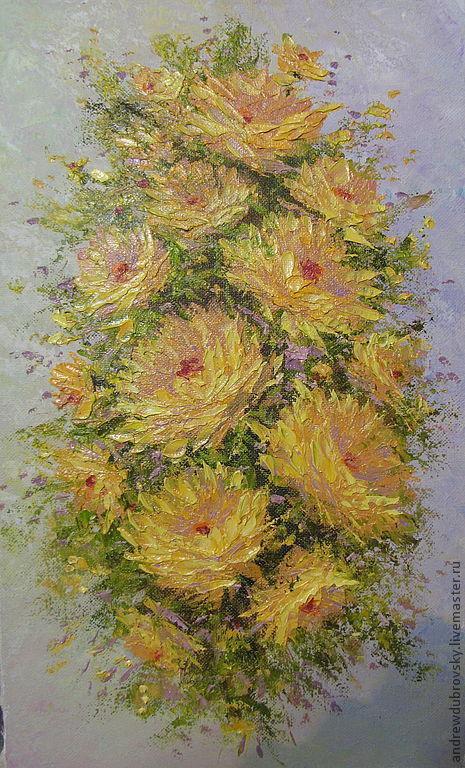Картины цветов ручной работы. Ярмарка Мастеров - ручная работа. Купить Для нее. Handmade. Золотой, картина для интерьера, цветы, масло