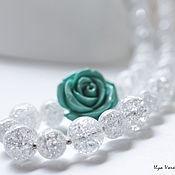 """Свадебный салон ручной работы. Ярмарка Мастеров - ручная работа """"Blue rose"""" бусы из кварца с розой. Свадебное украшение ручной работы. Handmade."""