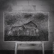 """Картины и панно ручной работы. Ярмарка Мастеров - ручная работа картина """"Хижина"""" в стиле стринг арт. Handmade."""