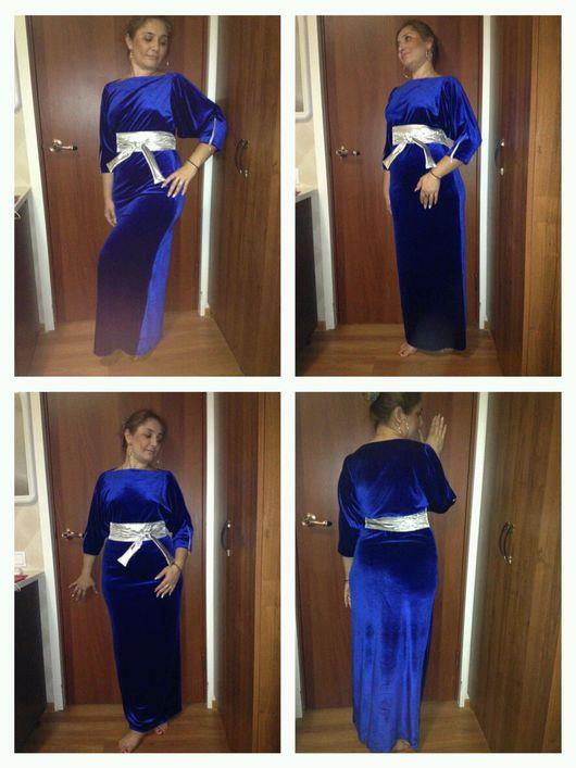 """Платья ручной работы. Ярмарка Мастеров - ручная работа. Купить """"Серебро в ночи"""". Handmade. Синее платье, платье с рукавом, молнии"""