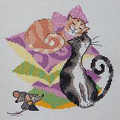 """Картины и панно ручной работы. Ярмарка Мастеров - ручная работа """"Кошки - мышки"""" вышитое панно. Handmade."""