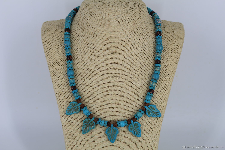 Necklace made of natural stones (variscite, howlite, aventurine) and Rudraksha, Necklace, Velikiy Novgorod,  Фото №1