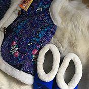 Одежда ручной работы. Ярмарка Мастеров - ручная работа Комплект Жилеточка из овчины и меховые чуни. Handmade.