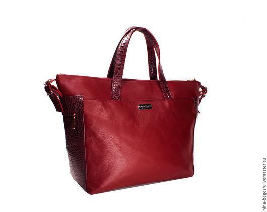 """Женские сумки ручной работы. Ярмарка Мастеров - ручная работа. Купить Сумка кожаная """"Energetic day"""", бордовый, сумка на плечо. Handmade."""