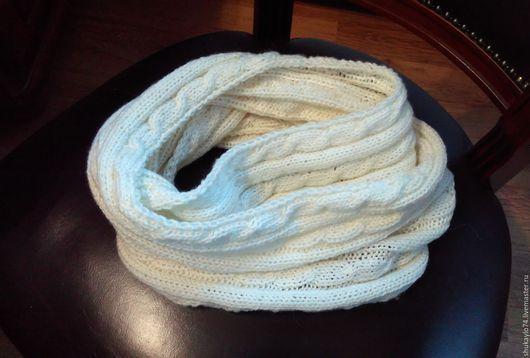Шарфы и шарфики ручной работы. Ярмарка Мастеров - ручная работа. Купить Белый снуд с косами. Handmade. Белый, в подарок