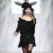 Одежда handmade. Livemaster - original item DP_029 Dress black with YULEE on the sleeves and neckline. Handmade.
