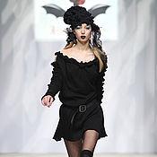 Одежда ручной работы. Ярмарка Мастеров - ручная работа DP_029 Платье черное с ЮЛАМИ на рукавах и декольте. Handmade.