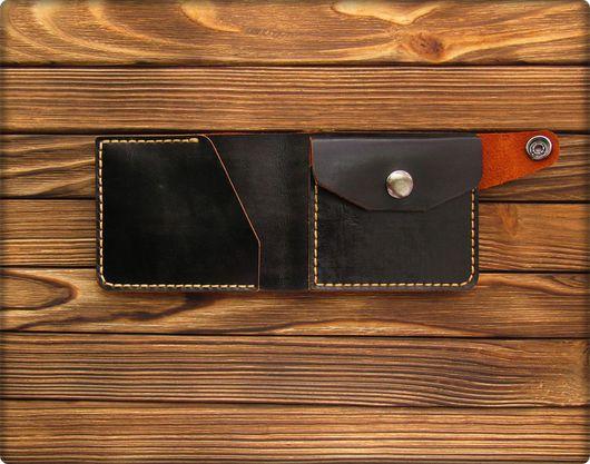 Кошельки и визитницы ручной работы. Ярмарка Мастеров - ручная работа. Купить Кошелек с карманом для мелочи- черный. Handmade. Черный