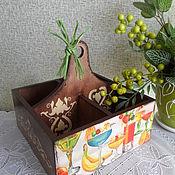 """Для дома и интерьера ручной работы. Ярмарка Мастеров - ручная работа короб под специи на 4 отдела """"Фруктовое изобилие"""". Handmade."""