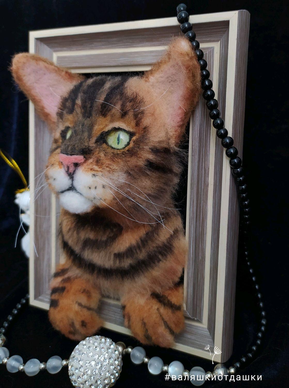 Картина из шерсти бенгальский кот, Панно, Омск,  Фото №1
