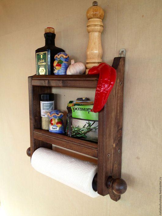 Полки для специй ручной работы. Ярмарка Мастеров - ручная работа. Купить Настенная деревянная полка для специй и бумажного полотенца. Handmade.