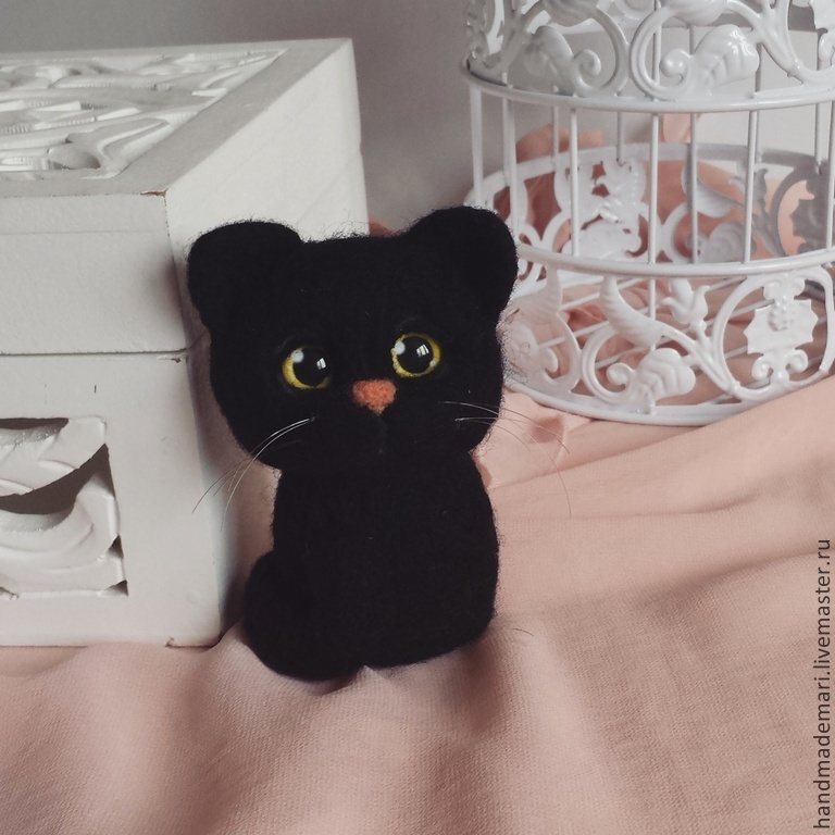 Cat Blackie toy from wool, Felted Toy, Moscow,  Фото №1