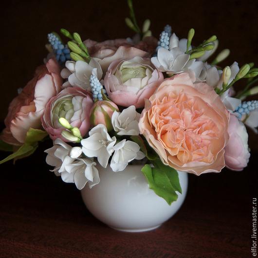 Интерьерные композиции ручной работы. Ярмарка Мастеров - ручная работа. Купить Букет из полимерной глины (розы, мускари, фрезия, ранункулюсы). Handmade.