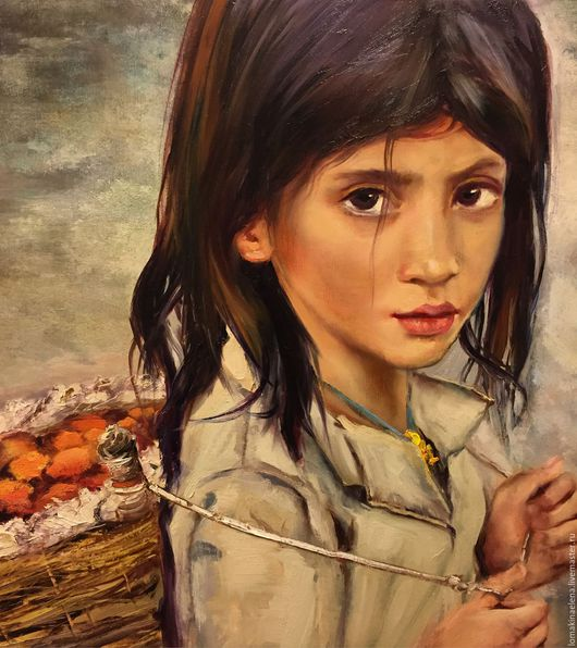 Люди, ручной работы. Ярмарка Мастеров - ручная работа. Купить Картина маслом Девочка из трущоб. Handmade. Комбинированный, корзина плетеная