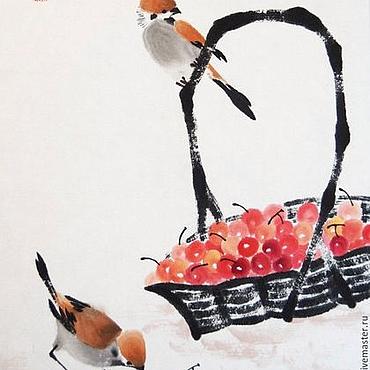 Картины и панно ручной работы. Ярмарка Мастеров - ручная работа Вишневый перекус(китайская живопись, картина, птицы, вишни). Handmade.
