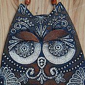 Панно деревянное кружевное Кошка