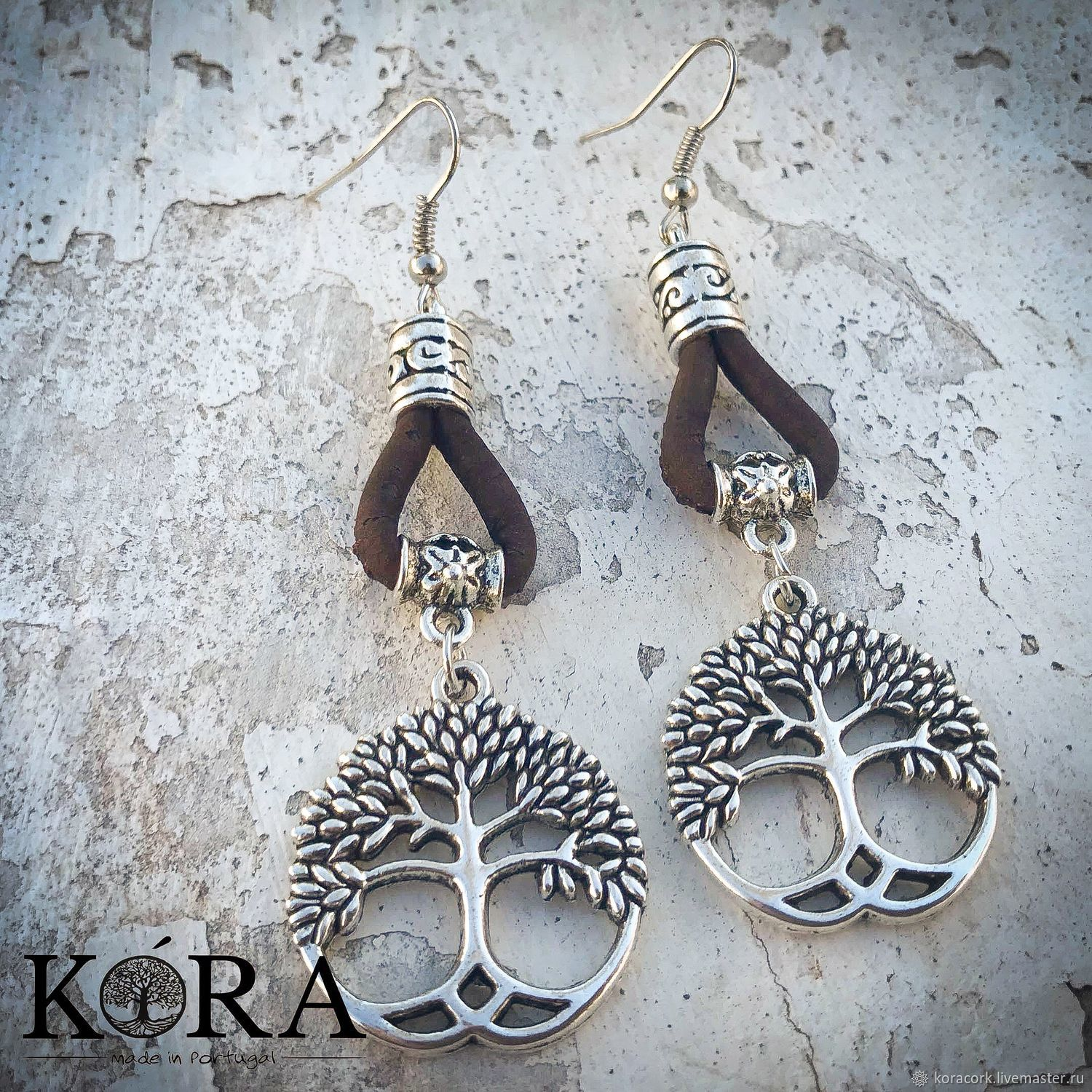 Tree Of Life Earrings From Portuguese Cork Br0092bl Shop Online On Livemaster With Shipping I2dv1com Moscow