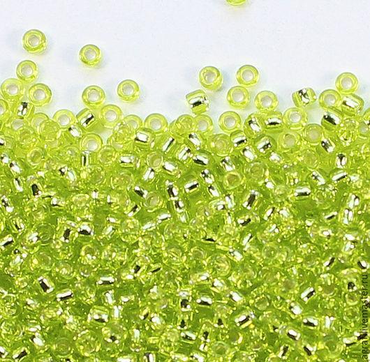 Для украшений ручной работы. Ярмарка Мастеров - ручная работа. Купить Круглый 15/0 TOHO 24 Peridot Green Silver Lined японский бисер. Handmade.