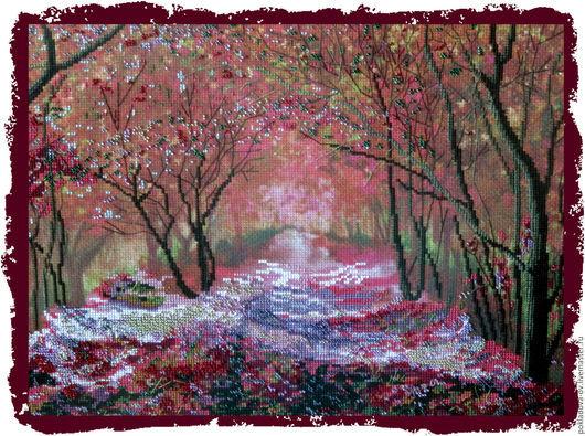 Пейзаж ручной работы. Ярмарка Мастеров - ручная работа. Купить Вышитая картина Осенняя аллея. Handmade. Брусничный, Вышивка бисером