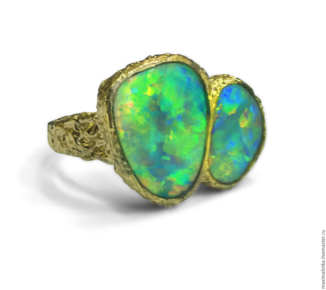Golden ring 'Duet opals' opals natural yellow gold, Rings, Moscow,  Фото №1