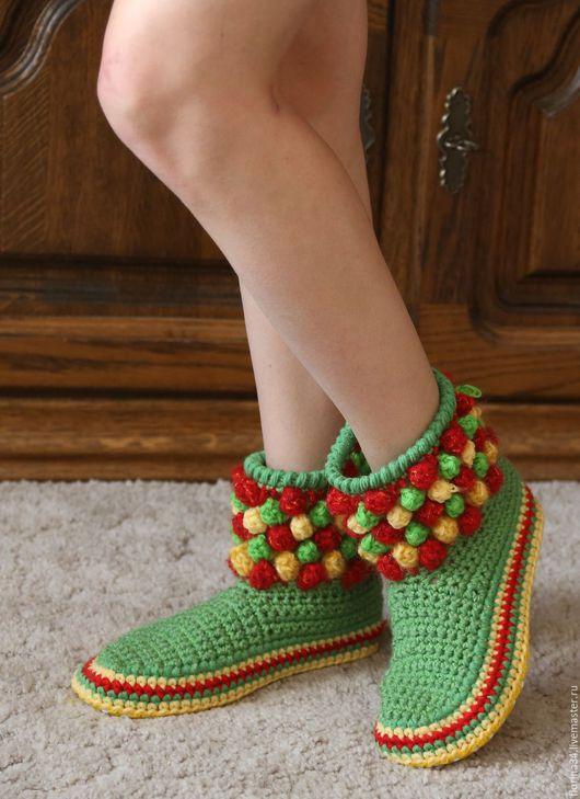 Обувь ручной работы. Ярмарка Мастеров - ручная работа. Купить Тапочки-сапожки Веселый светофор. Handmade. Тапочки, женские тапочки