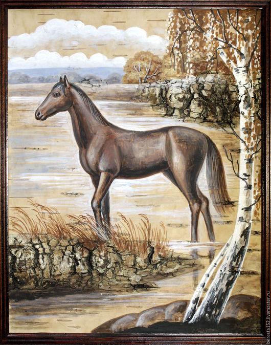 """Фантазийные сюжеты ручной работы. Ярмарка Мастеров - ручная работа. Купить Картина на бересте """"Лошадь"""".. Handmade. Бежевый, картина"""