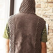 Одежда ручной работы. Ярмарка Мастеров - ручная работа Мужской жилет с капюшоном. Handmade.