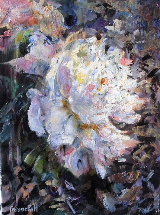 """Картины цветов ручной работы. Ярмарка Мастеров - ручная работа. Купить Картина """"Белый пион"""".. Handmade. Комбинированный, картина для интерьера"""