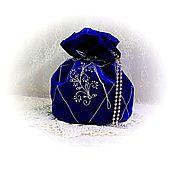 Сумки и аксессуары handmade. Livemaster - original item Velvet blue handbag-Torba, on the wrist.. Handmade.