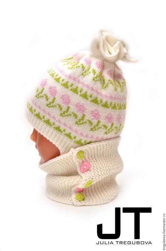 """Шапки и шарфы ручной работы. Ярмарка Мастеров - ручная работа. Купить Детский зимний комплект - шапочка и снуд """"Тюльпанчики"""". Handmade."""