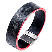 Украшения handmade. Livemaster - original item Bracelet leather T-20 Black-Red. Handmade.