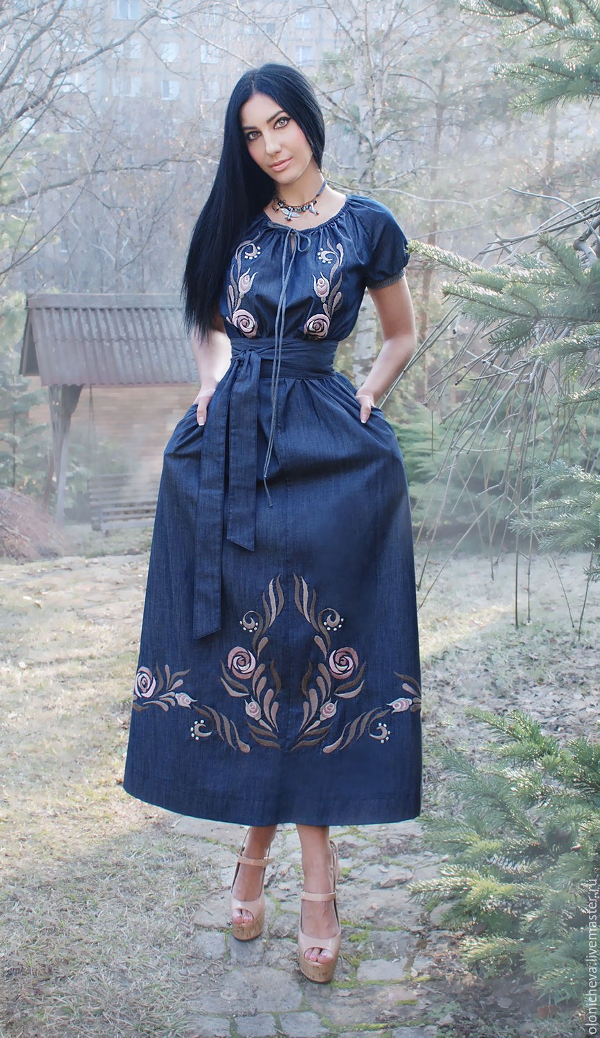 Long Denim Dress Delicate Roses With Hand Embroidery