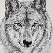Картины и панно handmade. Livemaster - original item The painting is a Portrait of a wolf graphics. Handmade.