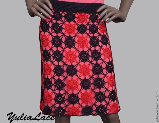 Юбки ручной работы. Ярмарка Мастеров - ручная работа. Купить Вязаная юбка. Handmade. Разноцветный, юбка крючком, ажурная юбка