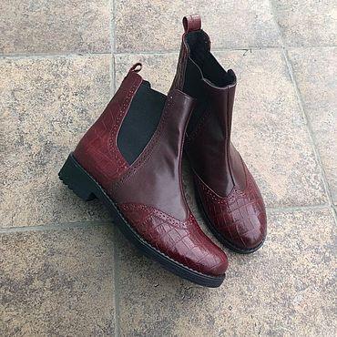 """Обувь ручной работы. Ярмарка Мастеров - ручная работа Челси """"бордо рептилия/бордо"""". Handmade."""