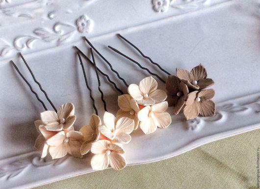 Свадебные украшения ручной работы. Ярмарка Мастеров - ручная работа. Купить Свадебные шпильки для волос гортензии из полимерной глины. Handmade.
