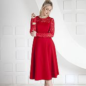 Одежда handmade. Livemaster - original item Dress red lace Jersey red MIDI dress. Handmade.