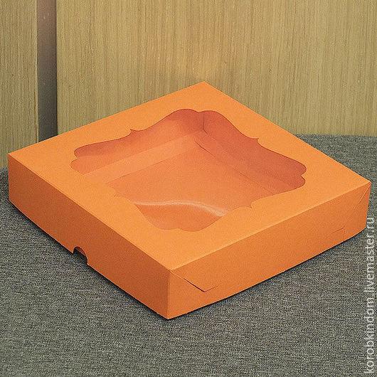 Упаковка ручной работы. Ярмарка Мастеров - ручная работа. Купить Коробка 16х16х3,5 крышка-дно оранжевая. Handmade. Коробочка