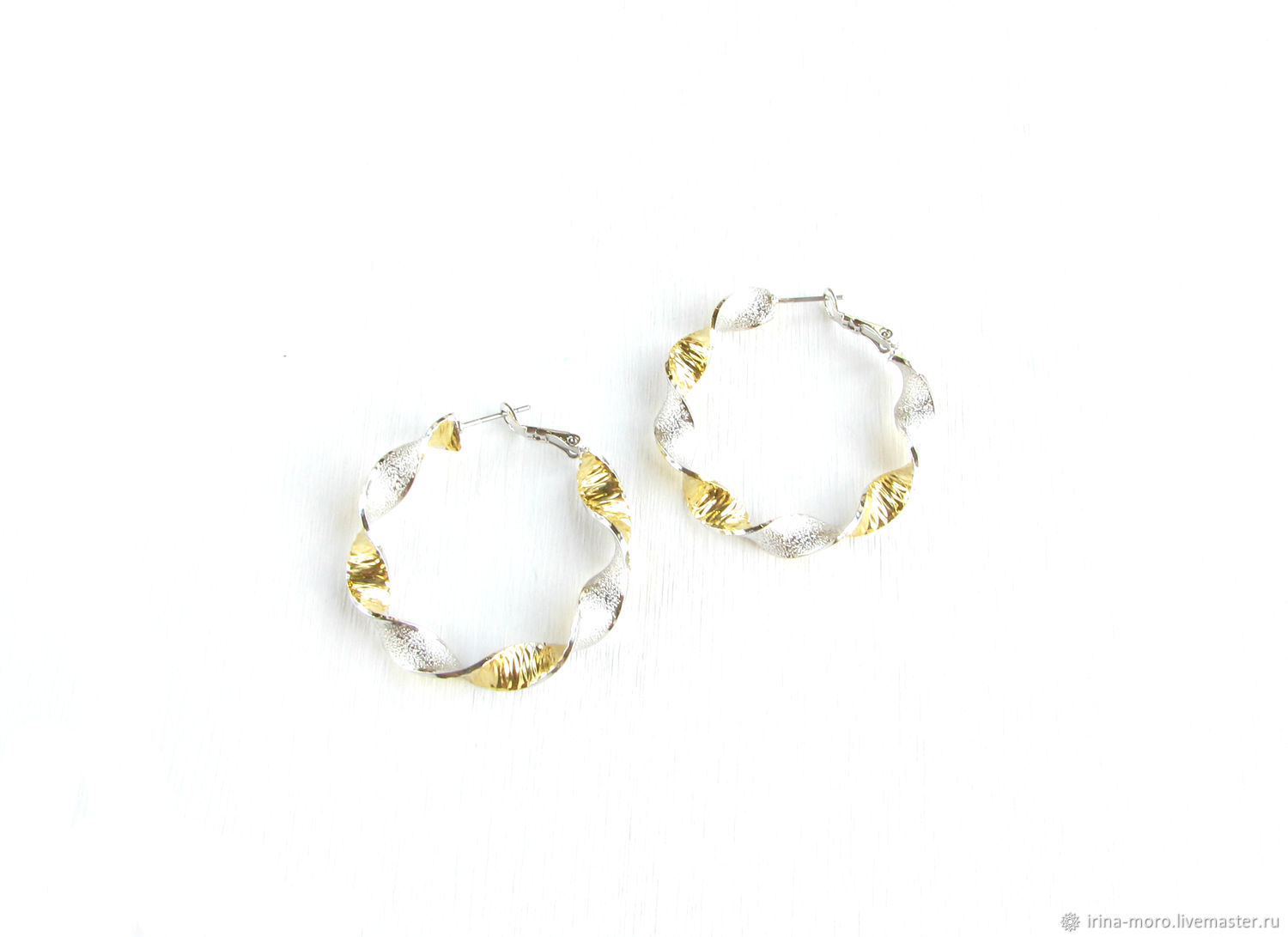 Earrings silver with gold 'together' earrings gold and silver, Congo earrings, Moscow,  Фото №1