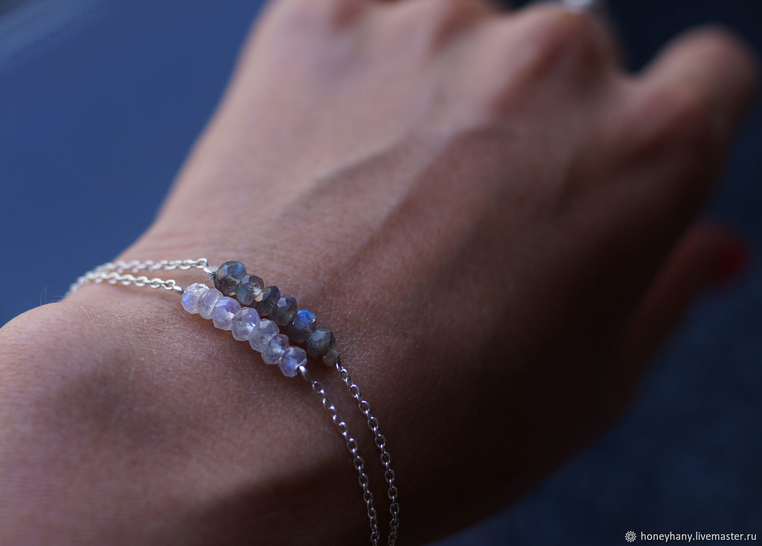 Thin silver bracelet with labradorite or moonstone, Bead bracelet, Moscow,  Фото №1