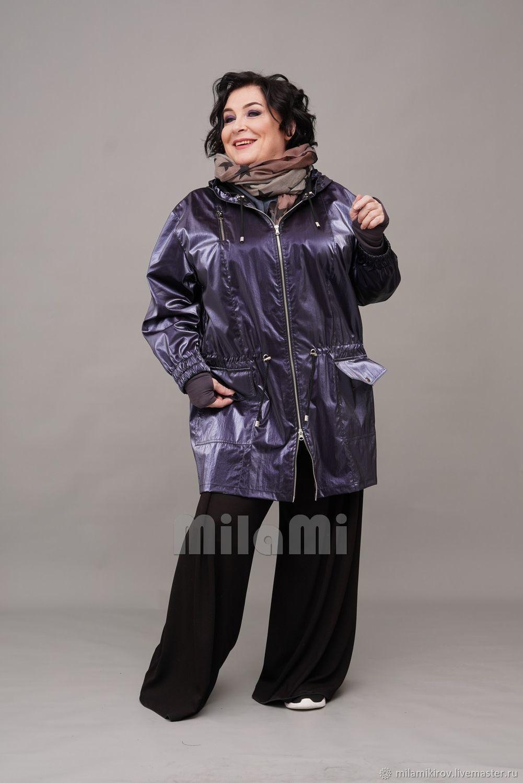 Parka from a blue raincoat 'chameleon', with a hood. Art.4324, Parkas jacket, Kirov,  Фото №1