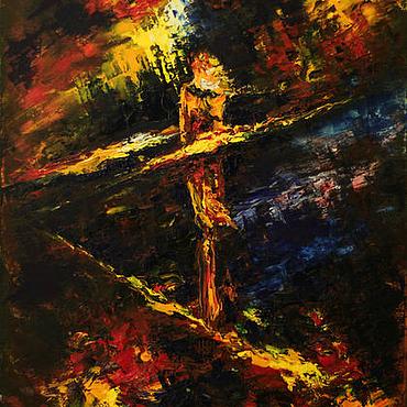 Картины и панно ручной работы. Ярмарка Мастеров - ручная работа Абстрактная картина маслом на холсте Одиночество. Handmade.