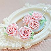 Свадебный салон handmade. Livemaster - original item Set: necklace with Pusey with pale pink roses. Handmade.