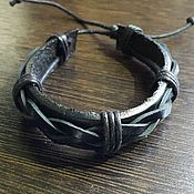 Браслет из бусин ручной работы. Ярмарка Мастеров - ручная работа кожаный браслет. Handmade.