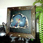 Часы классические ручной работы. Ярмарка Мастеров - ручная работа Часы с агатом в рамке. Handmade.