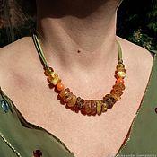 Украшения handmade. Livemaster - original item Healing Amber choker amber beads on a suede cord bright for summer. Handmade.