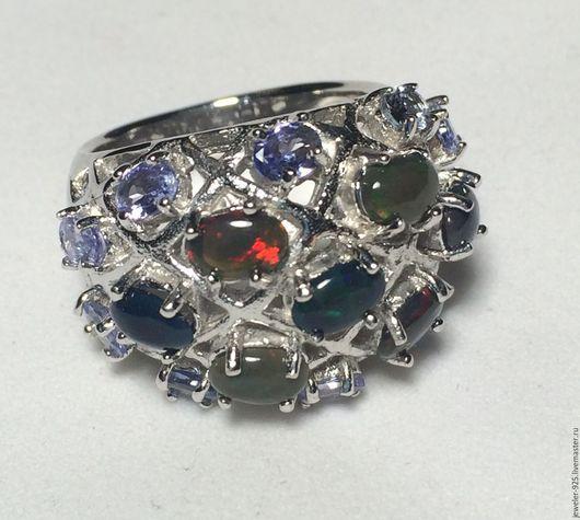 """Кольца ручной работы. Ярмарка Мастеров - ручная работа. Купить Крупное кольцо""""Птоломея"""" чер Опалы, Танзаниты, серебро 925. Handmade."""