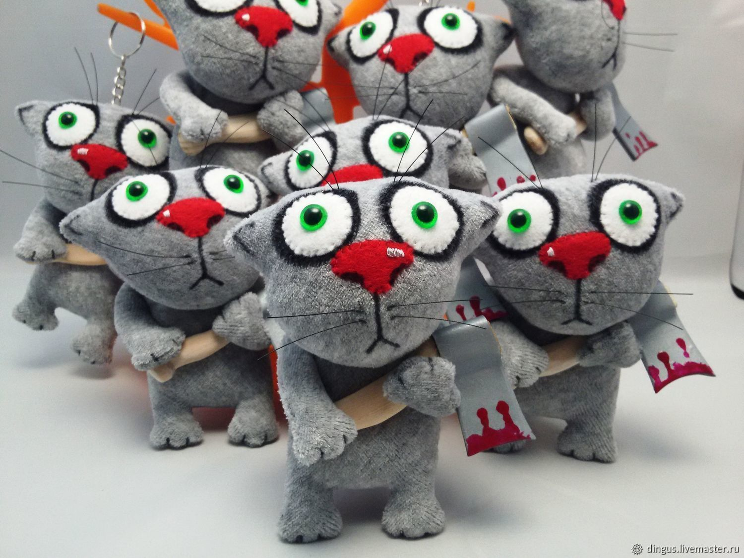 Keychain gray cat plush stuffed toy, gift to the driver in the car, Stuffed Toys, Moscow,  Фото №1
