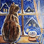 Картины и панно ручной работы. Ярмарка Мастеров - ручная работа В ночь перед Рождеством картина маслом. Handmade.
